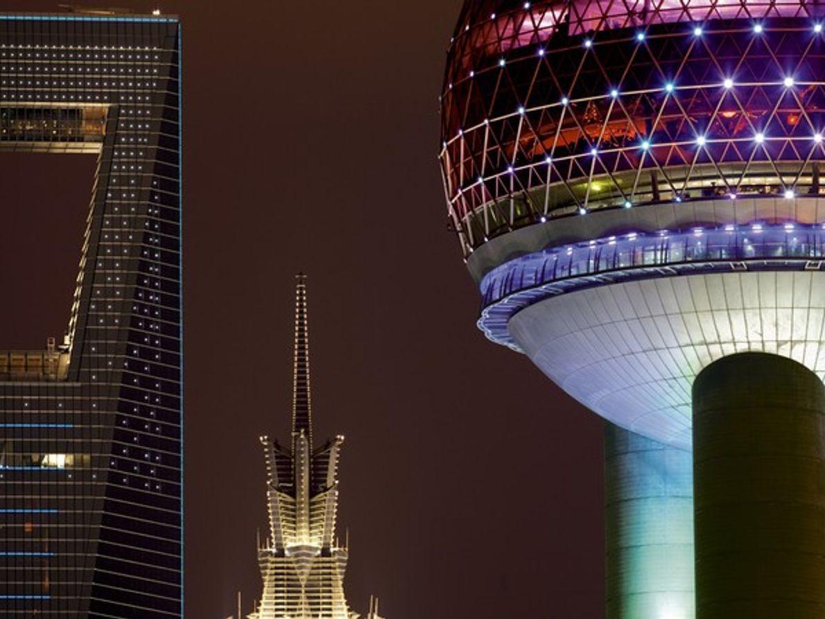Vistas de Shanghai de noche