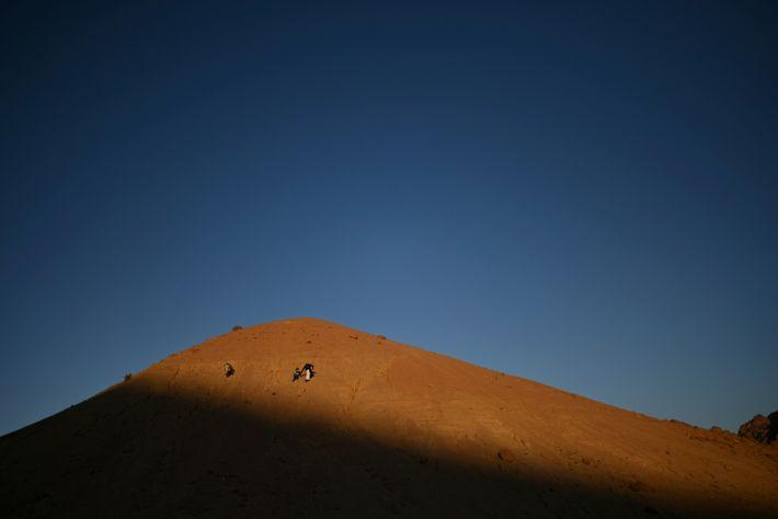 Padre e hijo caminan sobre la colina