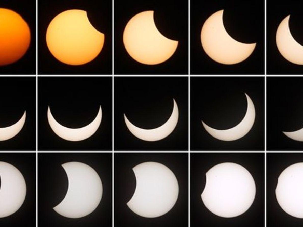 Progresión de un eclipse solar parcial