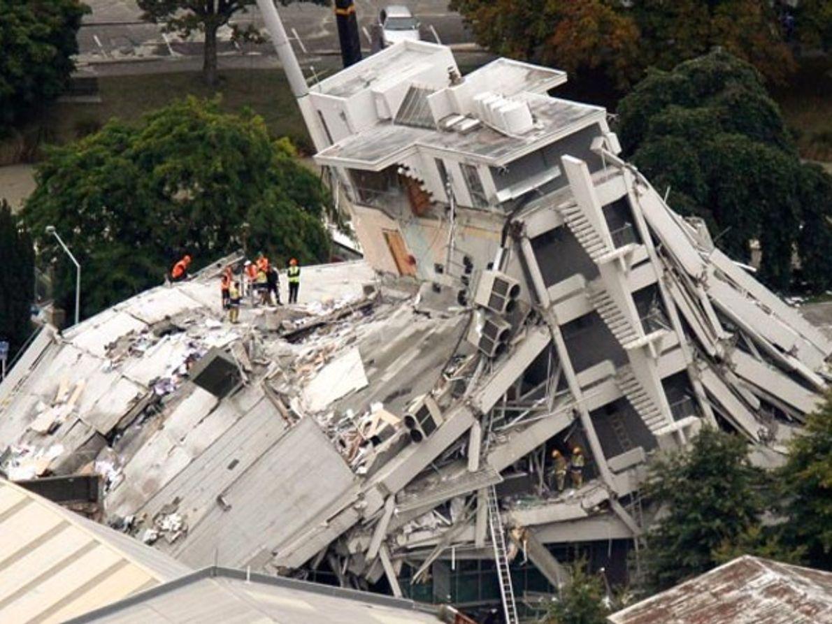 Edificio derrumbado en Nueva Zelanda