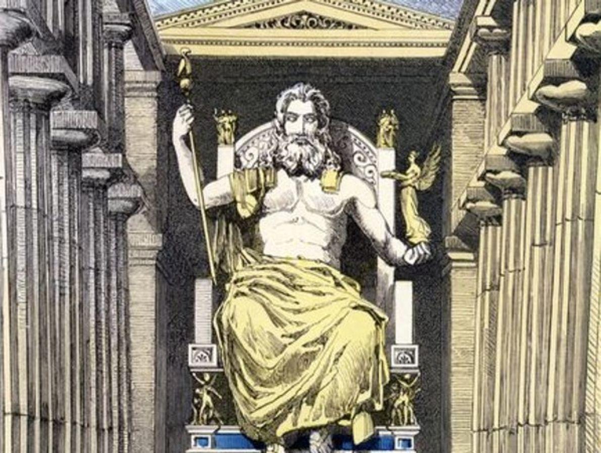 La estatua de Zeus de Olimpia, Grecia.