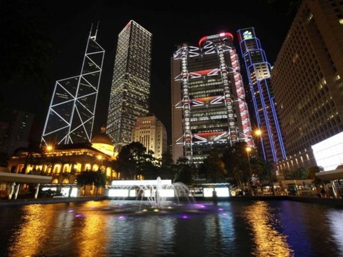 Centro de Hong Kong antes de La Hora del Planeta