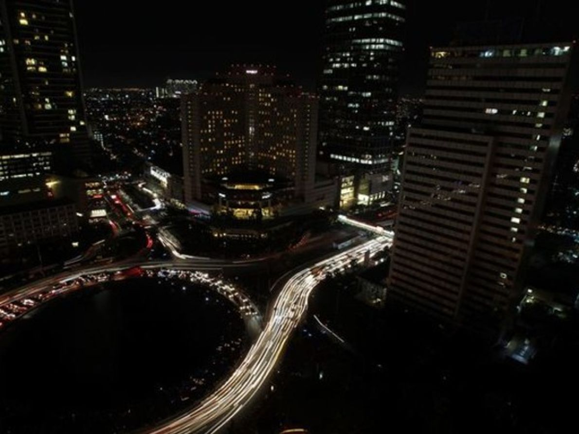 Yakarta, Indonesia, durante la Hora del Planeta