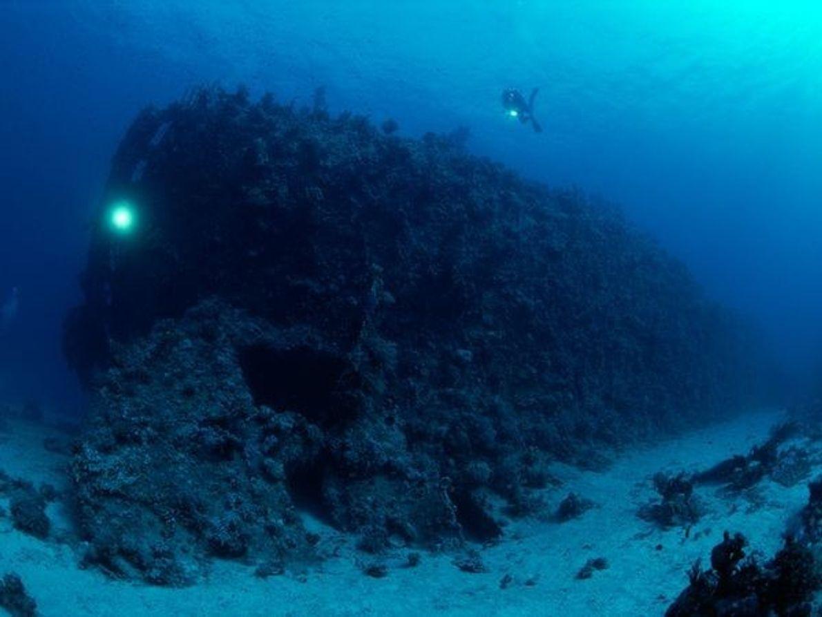 Los arrecifes del Mar Rojo son tan mortales como ricos. Aquí, un submarinista explora los restos …