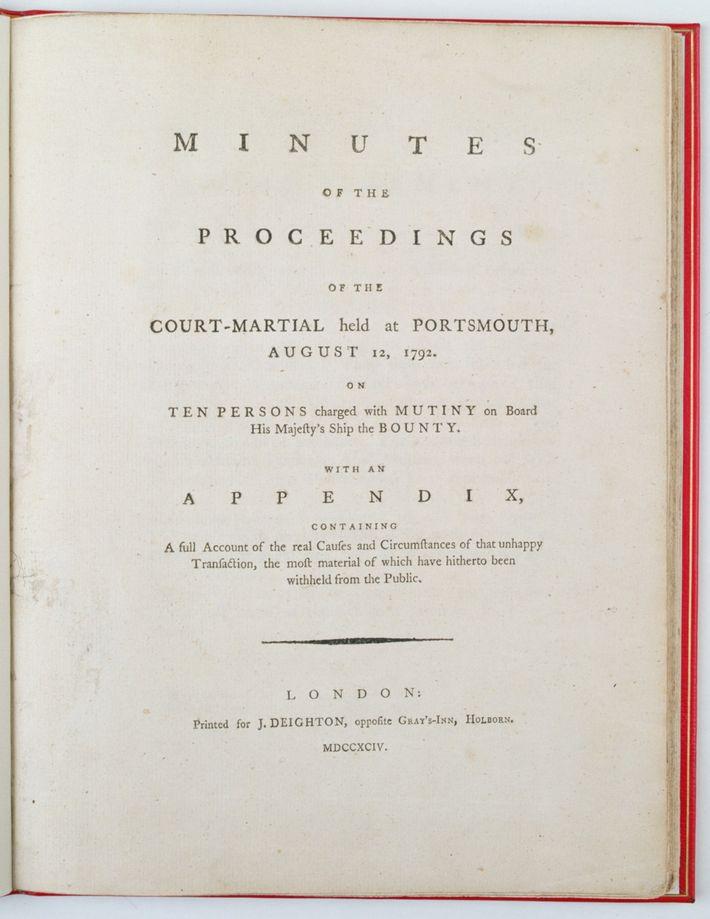 Acta del consejo de guerra por el motín en el HMS Bounty