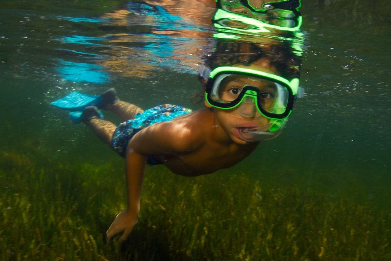 Haciendo snorkel, Parque nacional de Biscayne, Florida
