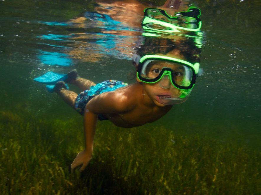 Haciendo snorkel en el Parque Nacional de Biscayne, Florida.