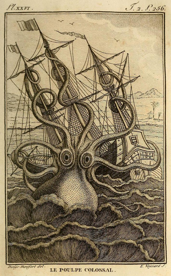 Dibujo de un pulpo atacando un barco