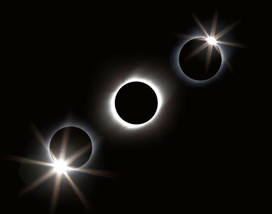 Una fotografía compuesta sacada desde un crucero cerca de Iwo Jima retrata un eclipse de 2009 ...