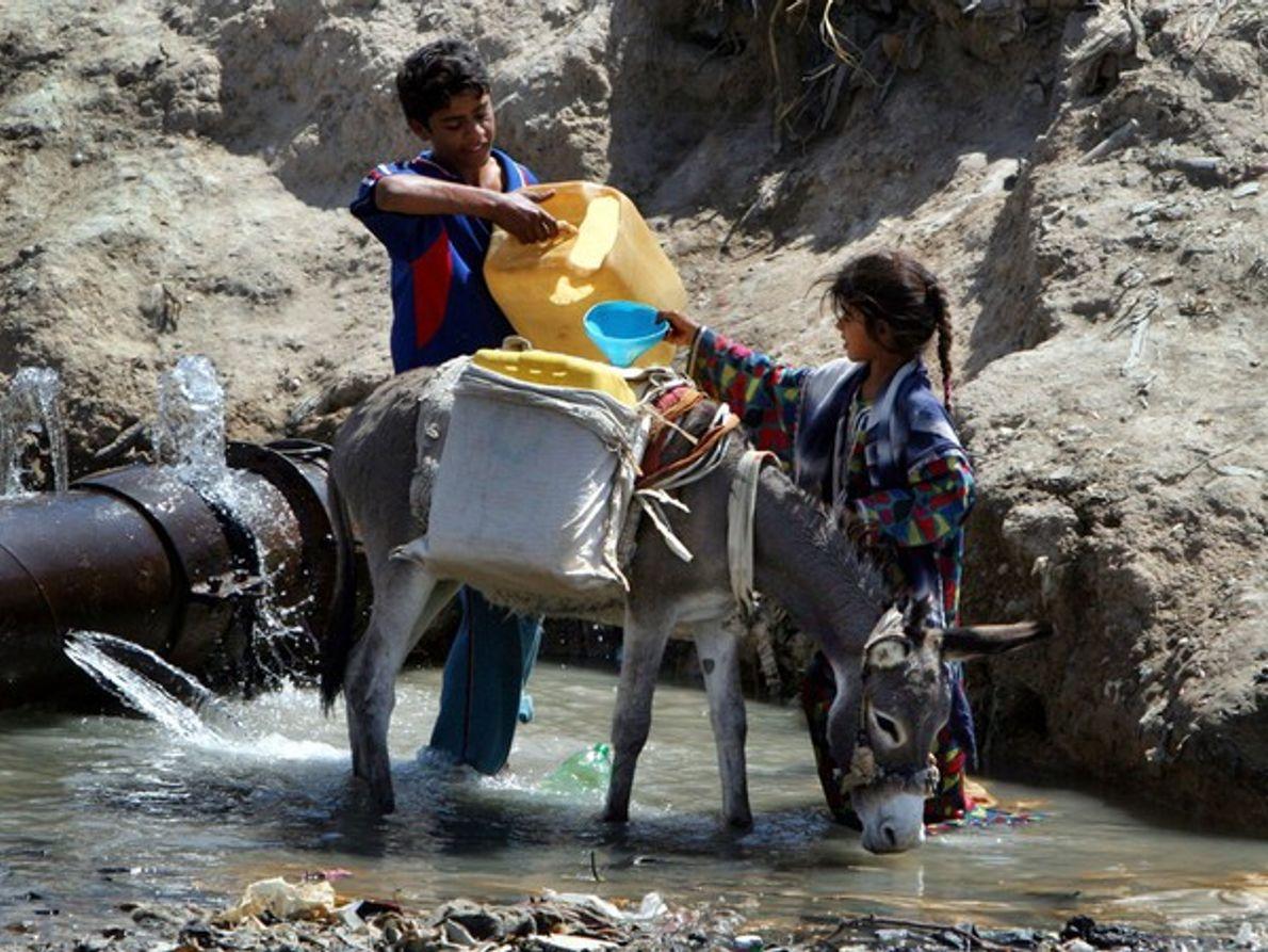Niños recogen agua (Irak)