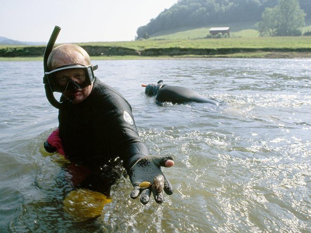 Biólogo marino con mejillones