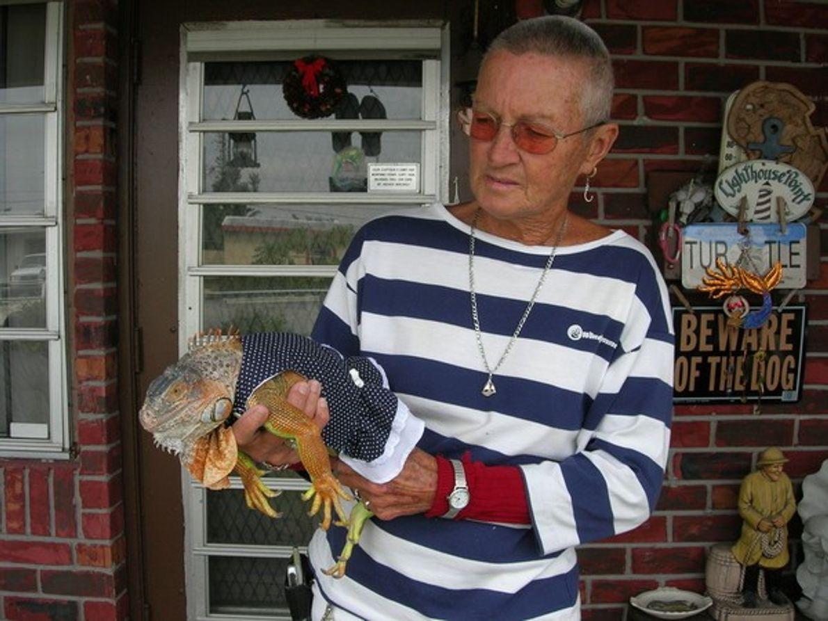 Elein entró en una tienda de mascotas y salió enamorada con esta iguana hembra.