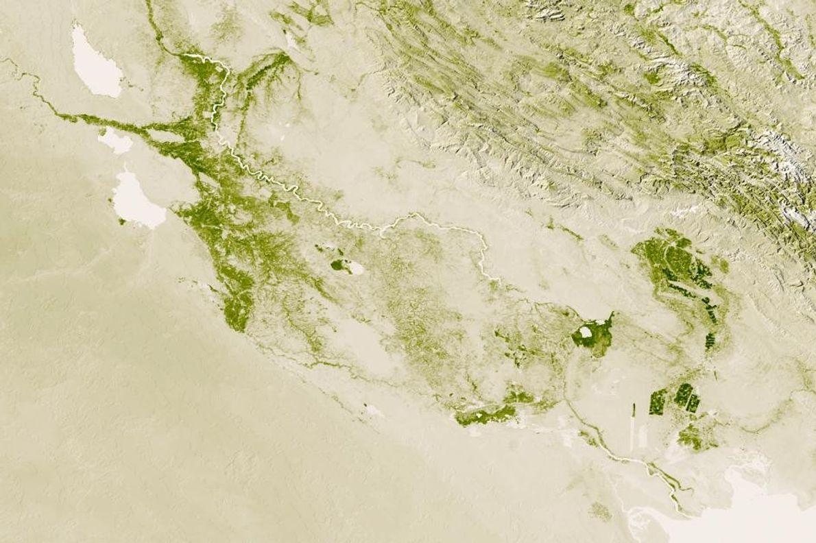 Los ríos Tigris y Éufrates generan una zona fértil a través del centro de Iraq, como …