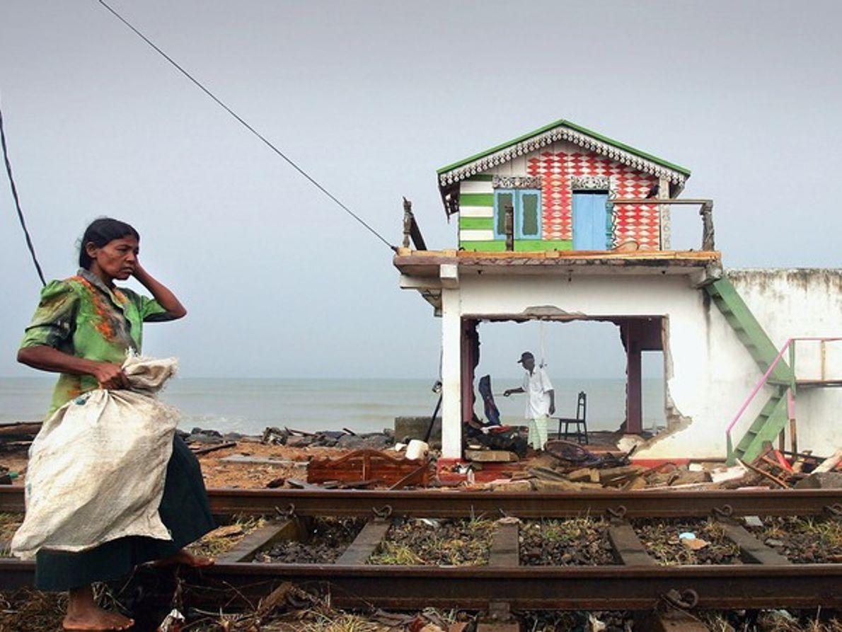Casa destrozada por el tsunami de Sri Lanka