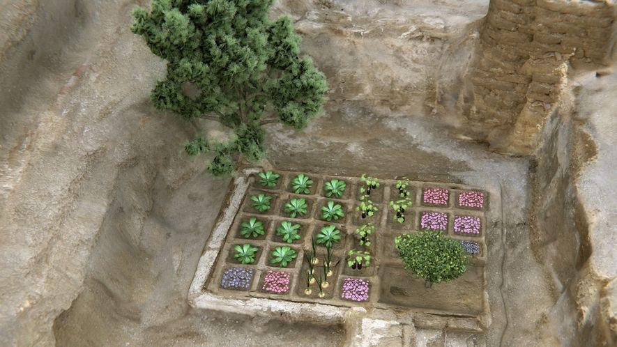 Reconstrucción del jardín funerario.