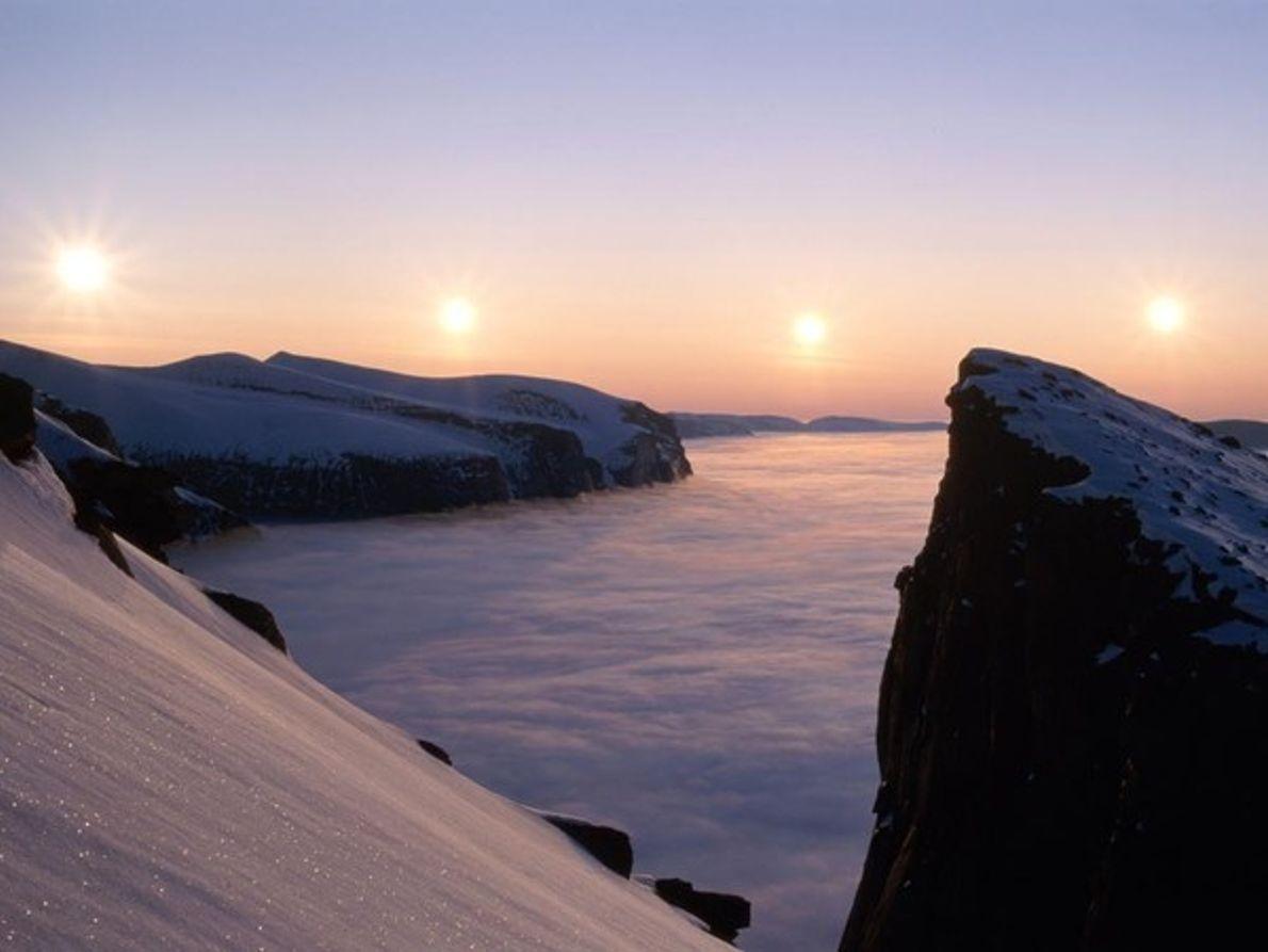 Sol en la isla de Baffin