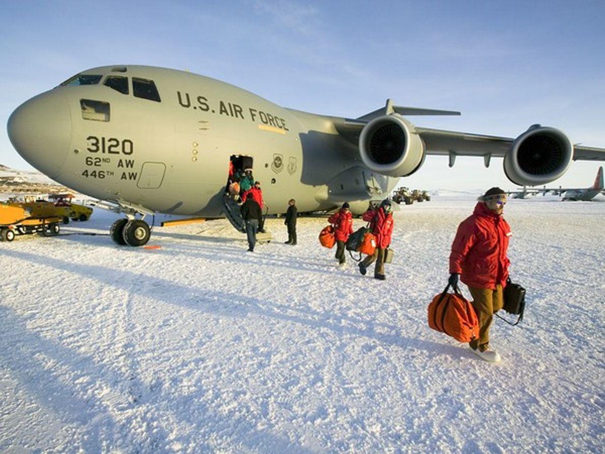 Pista de hielo, isla de Ross, Antártida