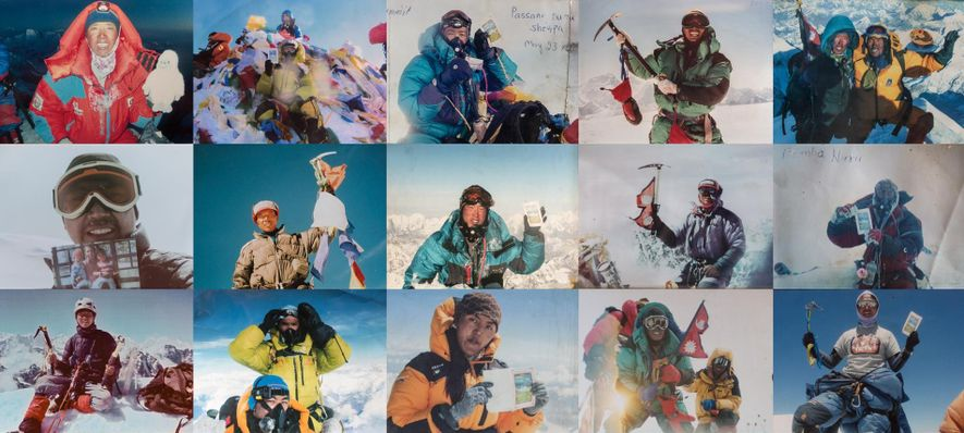 Orgullosos de sus momentos de gloria, los sherpas posan para estas instantáneas en las cumbres de gigantes del Himalaya como el Everest (8.850 metros), el Cho Oyu (8.201 metros), Ama Dablam (6.812 metros) y el Imja Tse (6.160 metros). De izquierda a derecha, los sherpas: Tenzing Dorjee, Sonam Tashi, Passang Nuru, Phu Tashi, Pemba y Pensa G, Phunuru, Tenzing Dorjee, Danuru, Panuru, Pemba Nuru, Sonam Tashi, Tenzin Gyaltzen, Pasang Lhamu, Phu Tashi, Panuru.