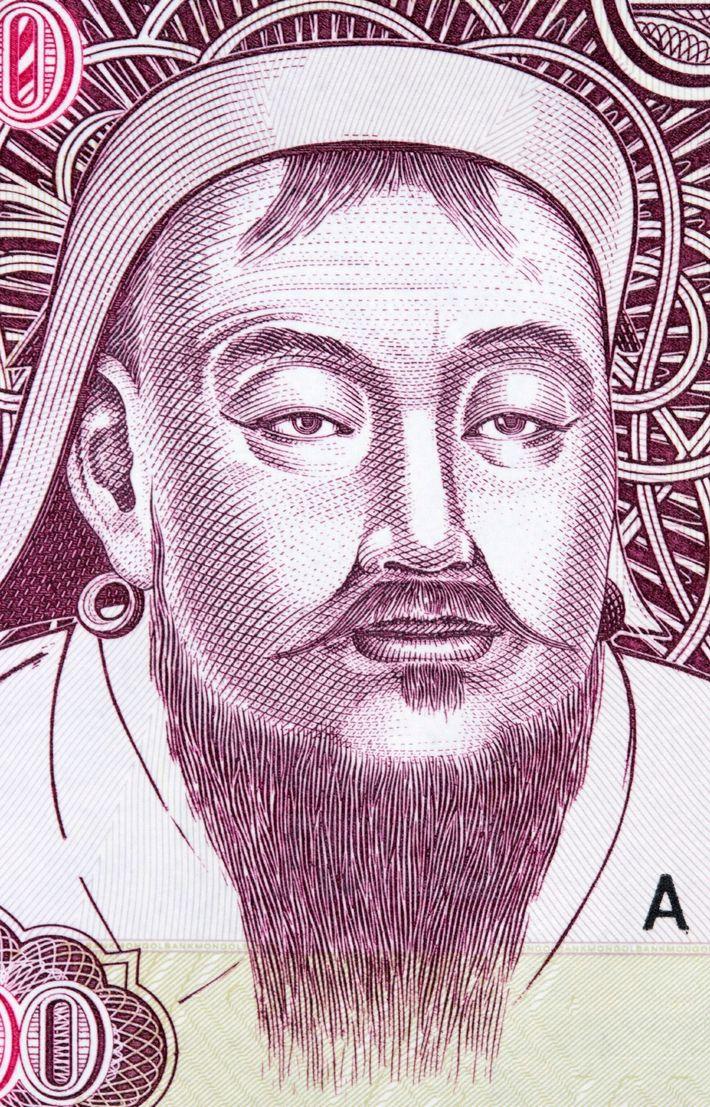 Gengis Khan en un billete de togrogs