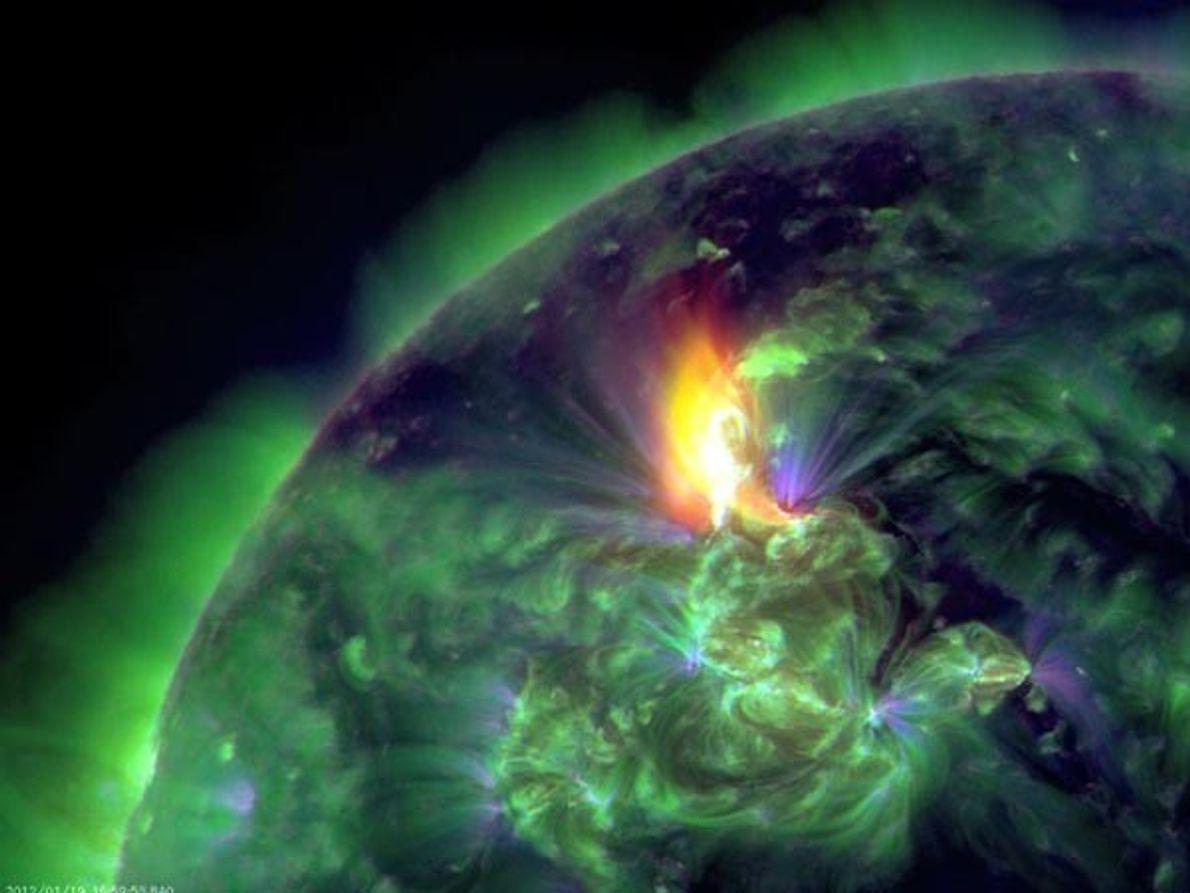 Una imagen compuesta en el Observatorio de Dinamarca a partir de la actividad energía solar. El …