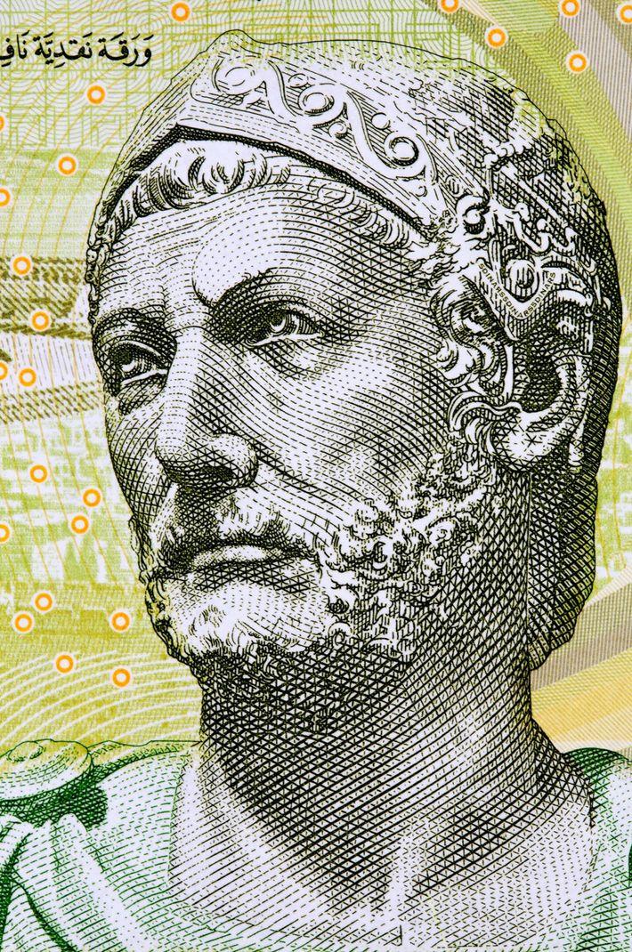 Aníbal en el billete de cinco dinares