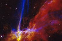 This 1991 image shows a small portion of the Cygnus Loop supernova remnant. The formation shown ...