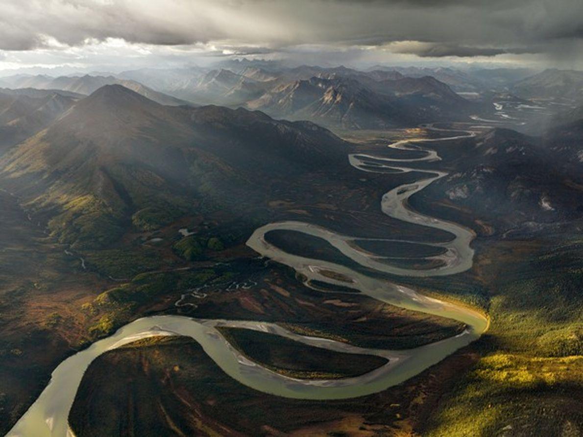 Vista aérea del río Alatna