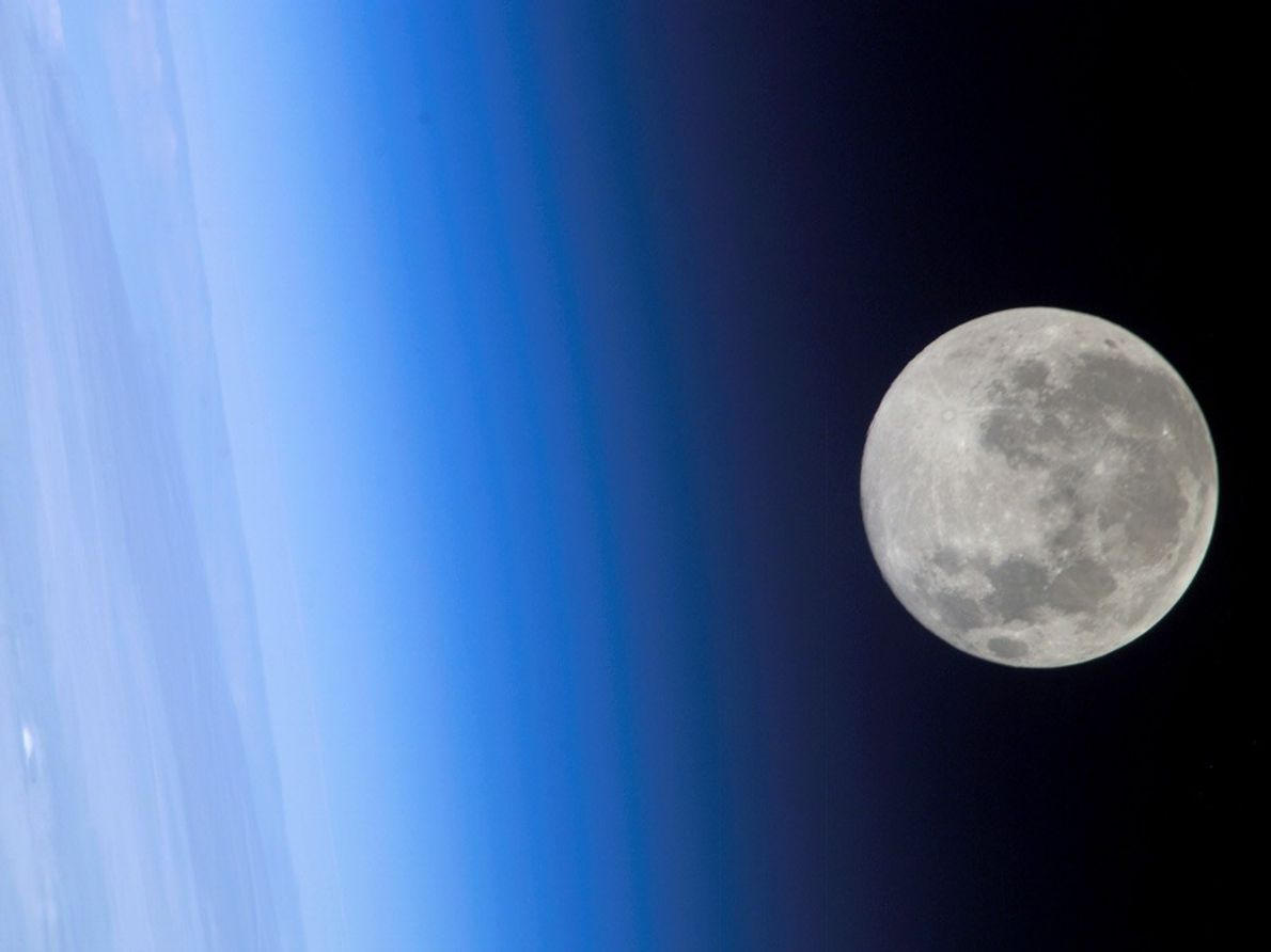 This full moon was captured in 2005 by a crew member on the International Space Station.