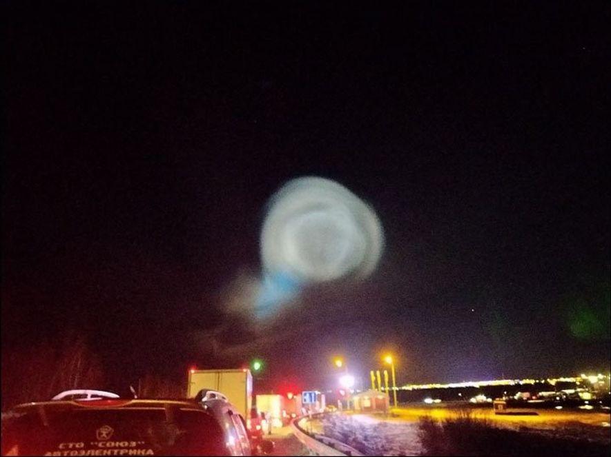 Imágenes de la esfera de luz gigante sobre Salekhard, en la península de Yamal.