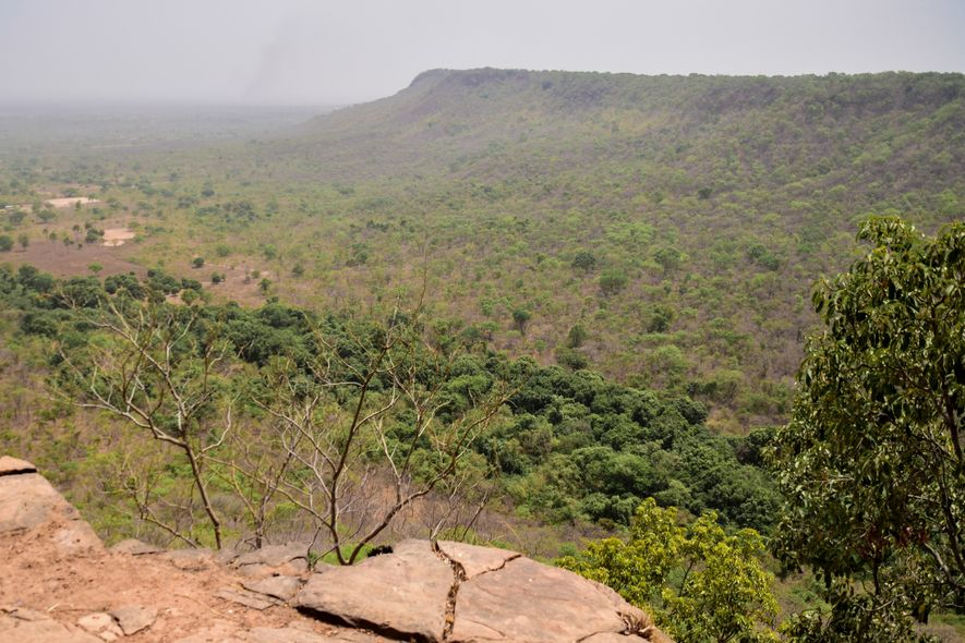 El bosque de galería creado por la corriente que brota de la cascada de Dindefelo es muy fácilmente identificable desde la altura adecuada.