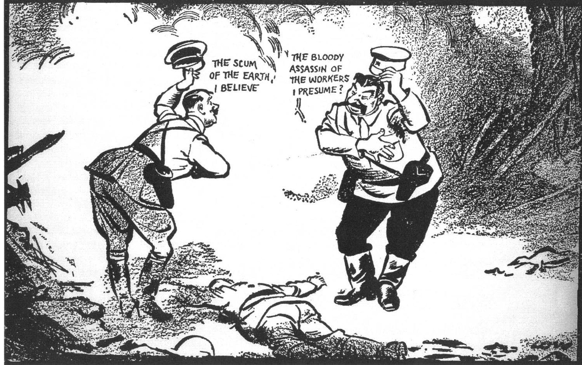 Hitler y Stalin se saludan sarcásticamente sobre el cadaver de Polonia en esta viñeta del historietista neozelandés, David Low.