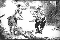 Hitler y Stalin se saludan sarcásticamente sobre el cadaver de Polonia en esta viñeta del historietista ...