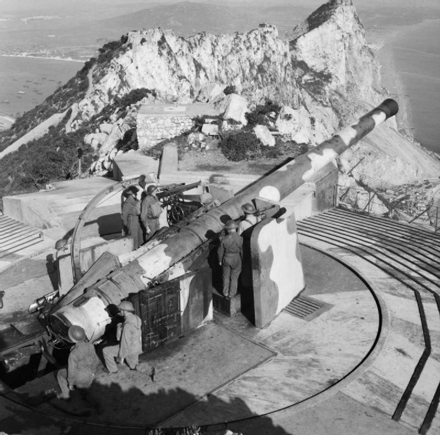 Una batería costera equipada con un cañón de 9,2 pulgadas en el peñón de Gibraltar.