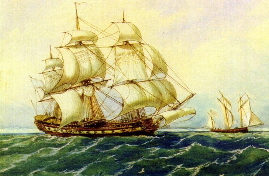 Acuarela de Rafael Monleón de una fragata española del siglo XVIII.