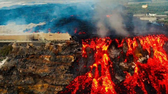 El delta de lava a vista de dron