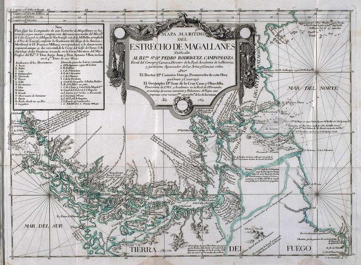 Mapa estrecho de Magallanes