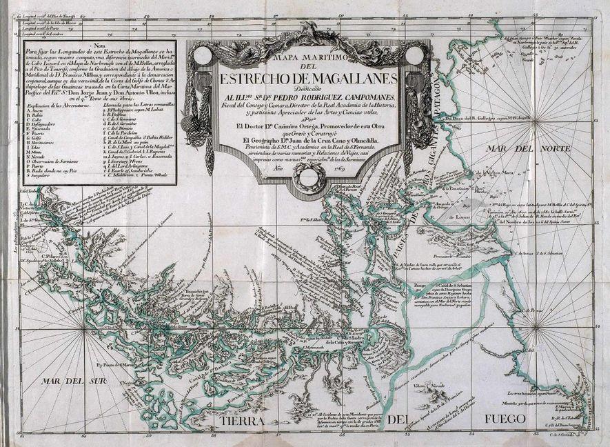 Mapa marítimo del Estrecho de Magallanes realizado por Juan de la Cruz Cano y Olmedilla en 1769.