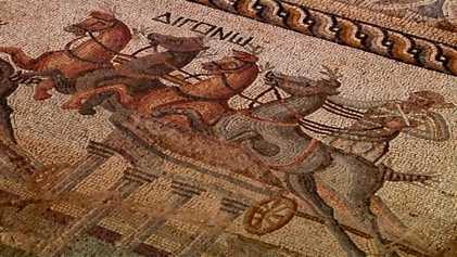 Descubierto en Chipre un mosaico de 2.000 años con escenas de carreras de cuádrigas
