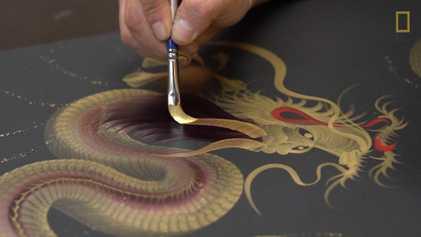 El arte japonés de pintar un dragón con un solo trazo