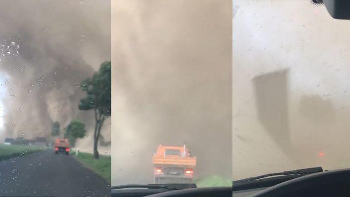 Dos conductores acaban en medio de un tornado en Alemania