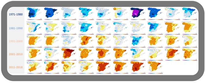 Gráfico Evolucion Olas Calor España
