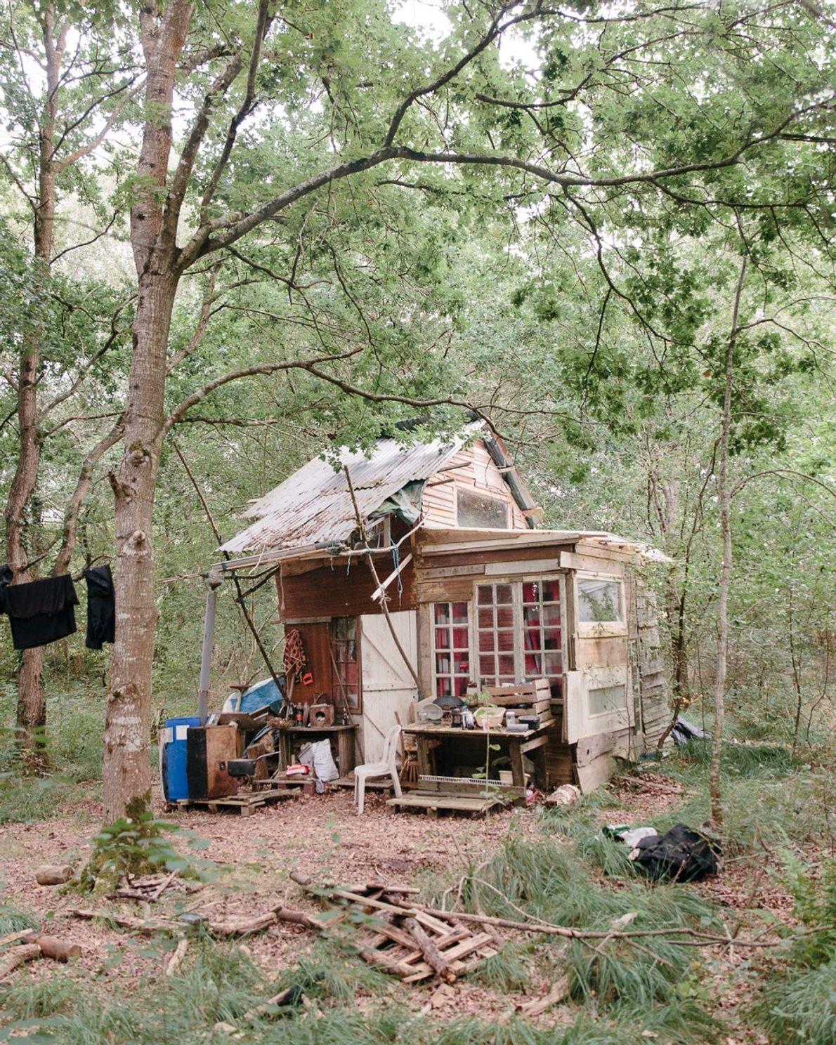 Una cabaña de madera