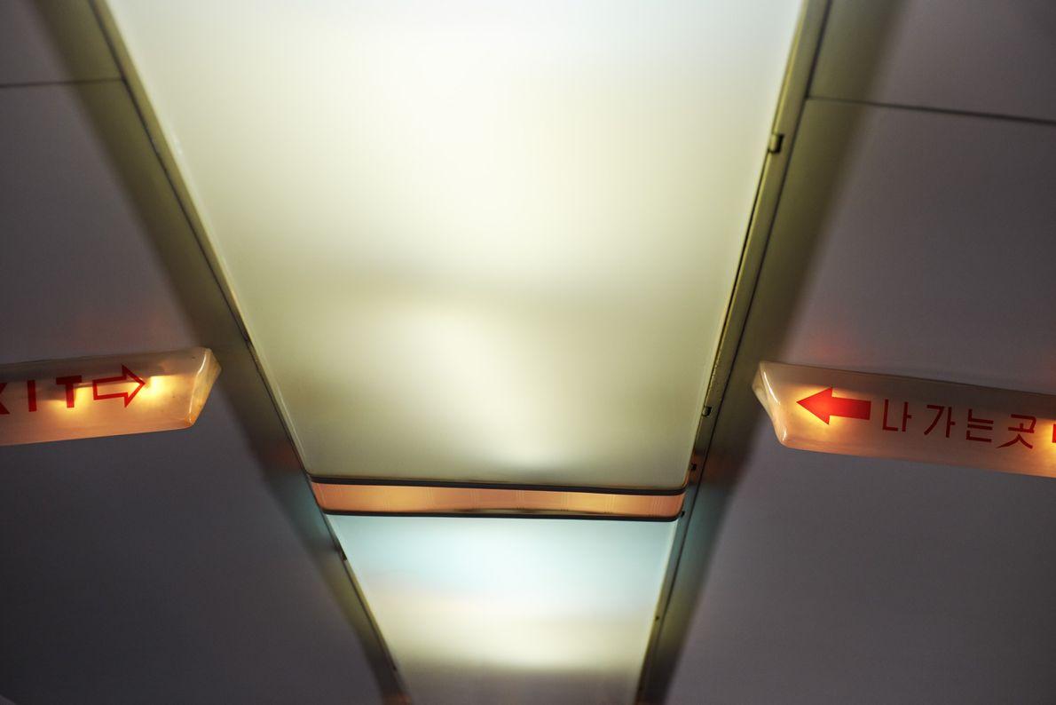 El techo iluminado de un Tupolev-154