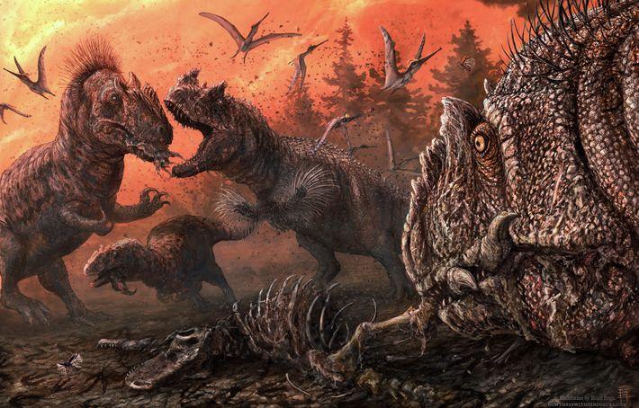 Allosaurus peleando