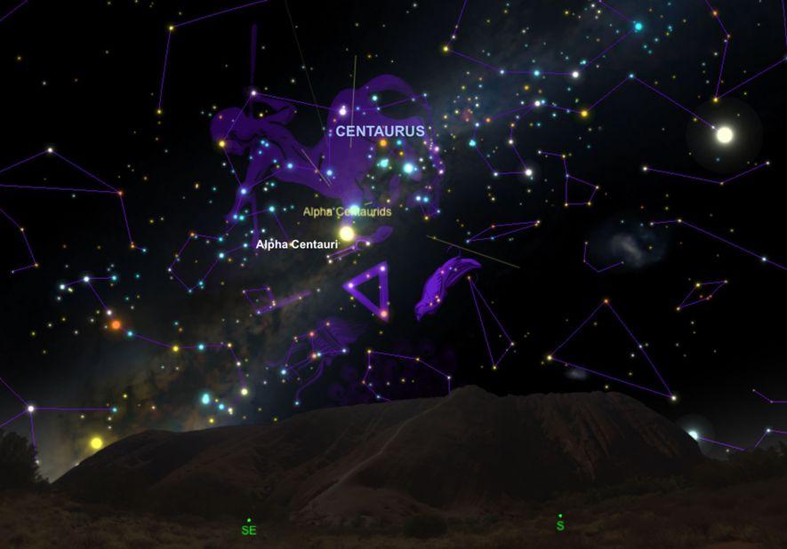 Los meteoros de las Alfa Centáuridas parecerán irradiar de la constelación de Centauro