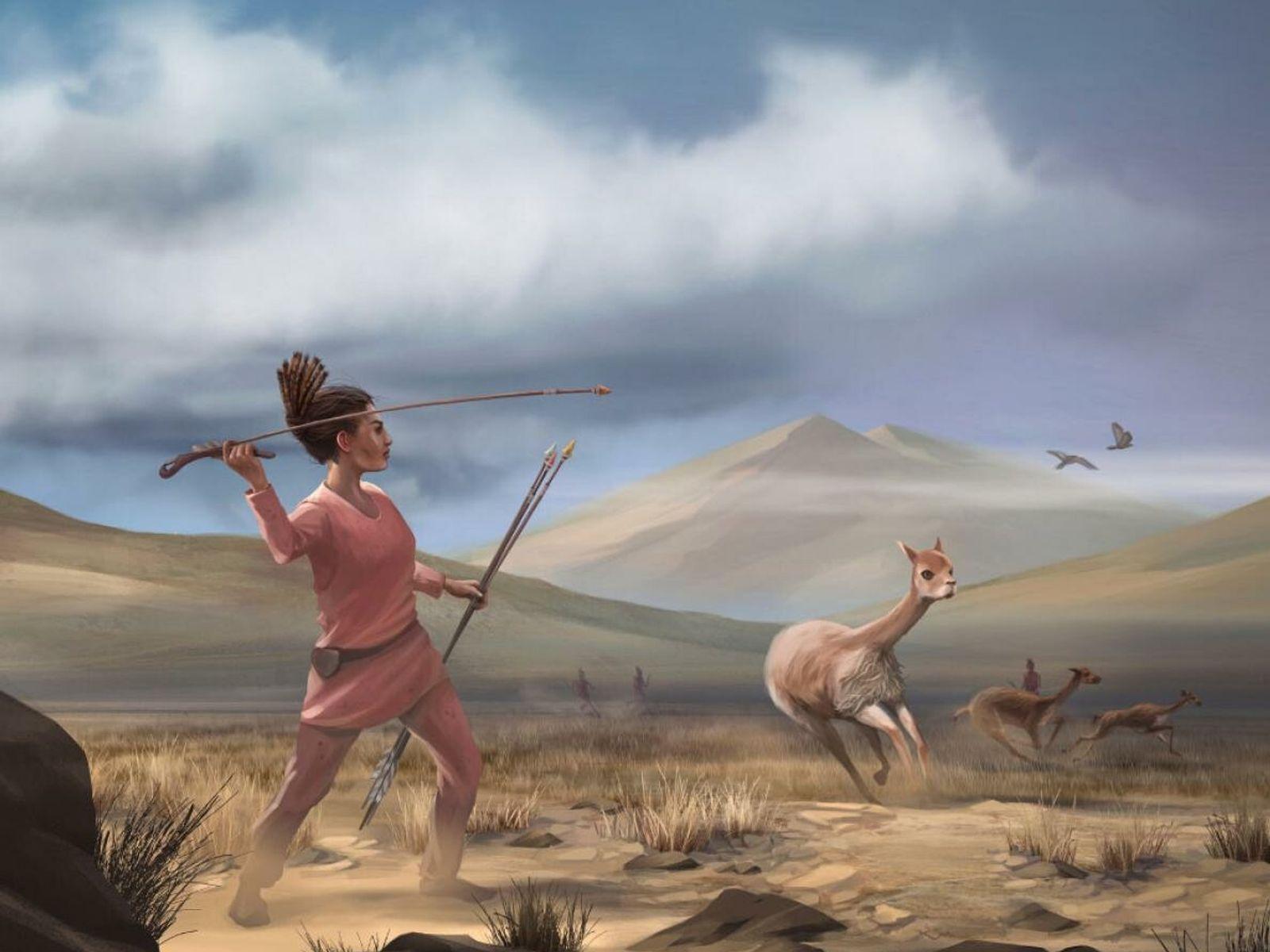 Ilustración de una joven cazadora en los Andes