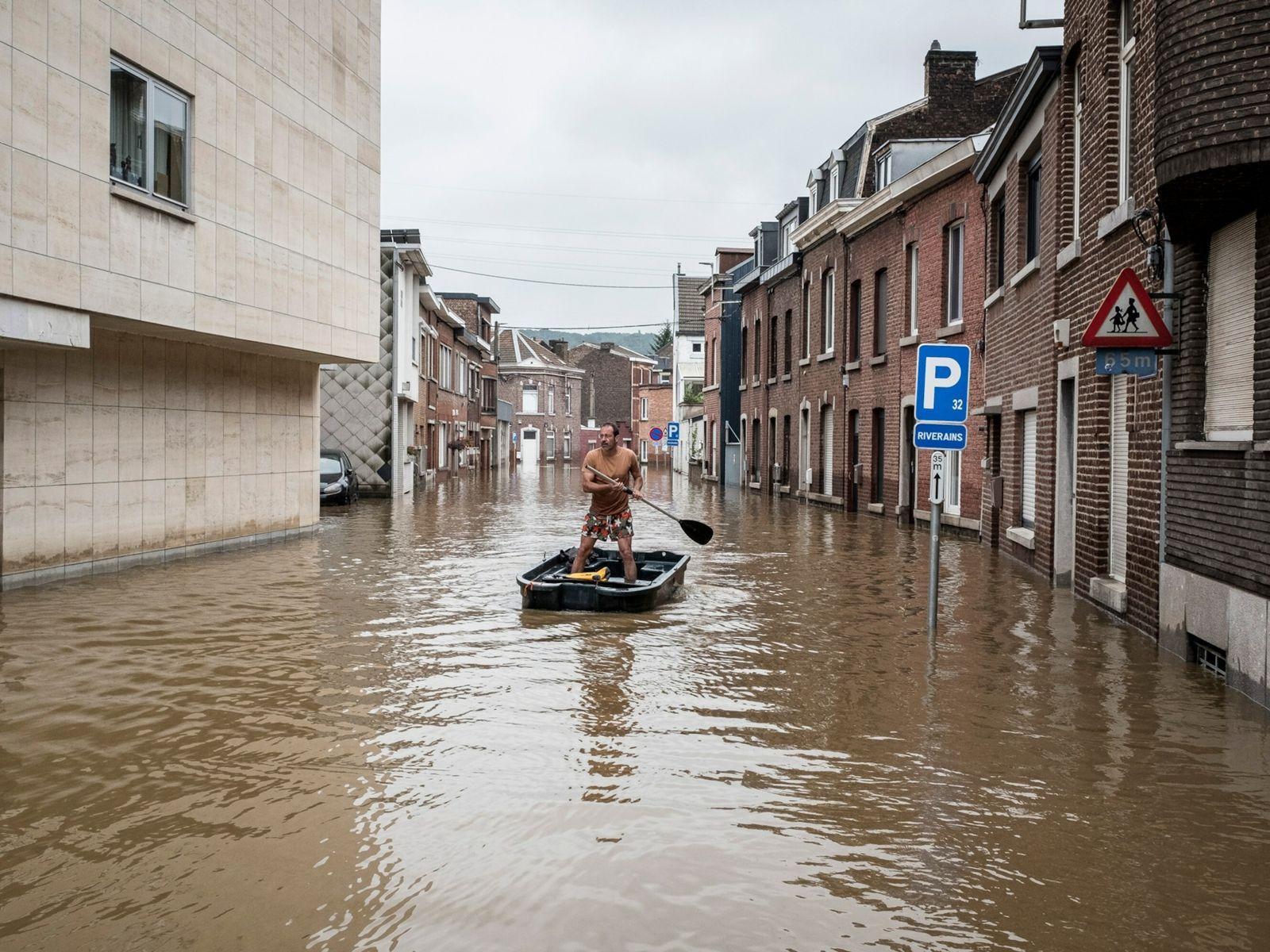 Calle residencial inundada en Bélgica