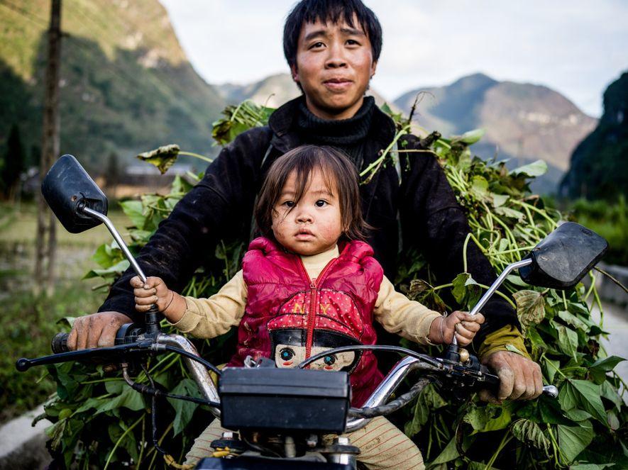 Un agricultor miao y su hija vuelven a casa tras una jornada recogiendo hierba para alimentar ...