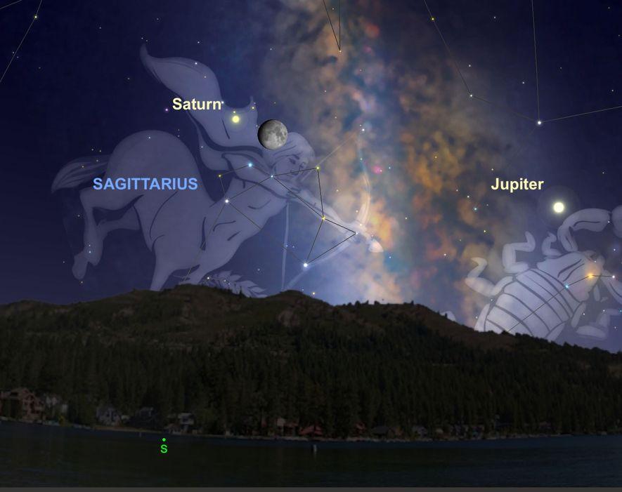 La noche del 11 de agosto, un Saturno de color crema parecerá estar especialmente cerca de ...