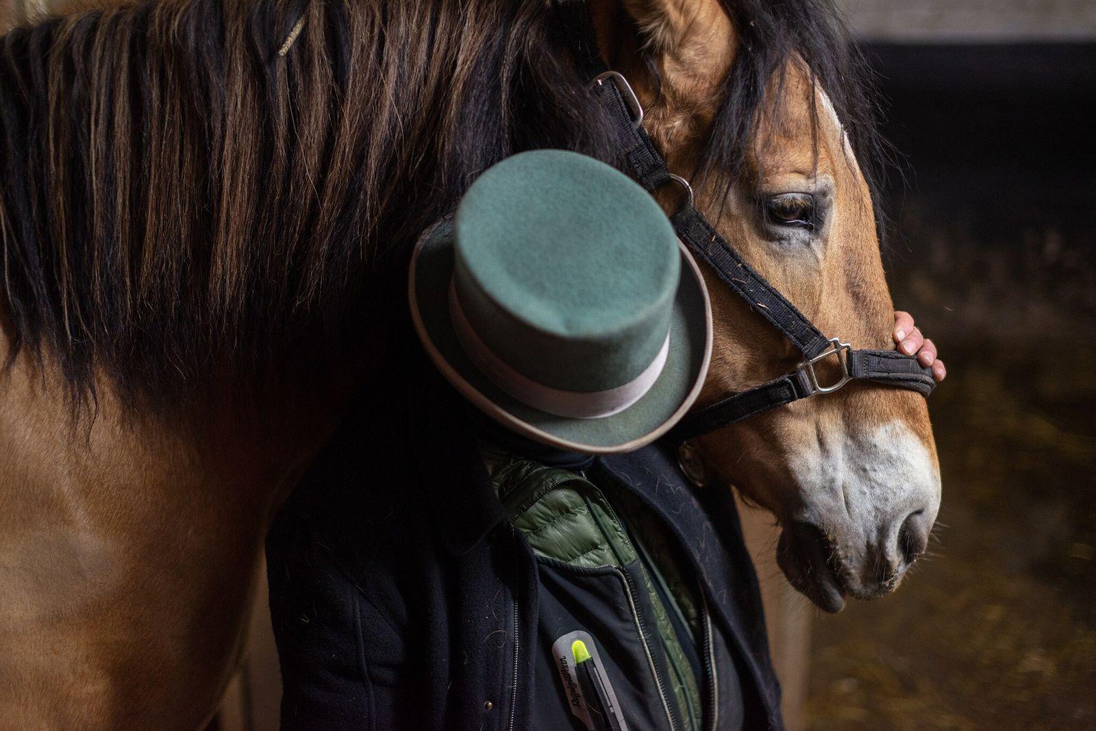 Fotografía de un caballo de tiro con su dueño en Nueva York